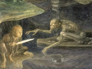 Bilbo e Gollum illustrazione di Alan Lee  - Libri a 360° - Lande Incantate