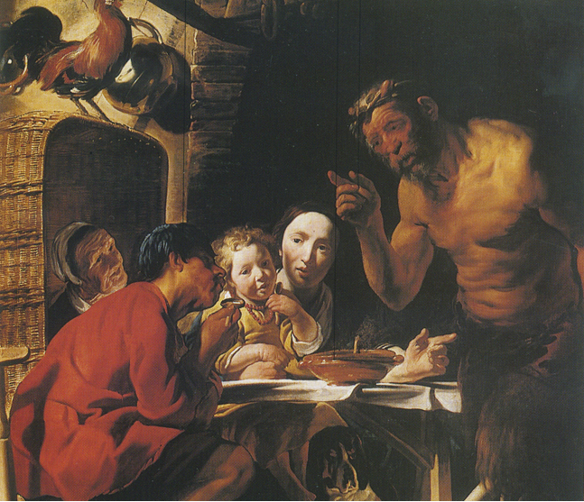 Il satiro e il contadino, Jacob Jordaens - Lande Incantate