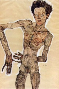 Autoritratto nudo, Egon Schiele - Lande Incantate