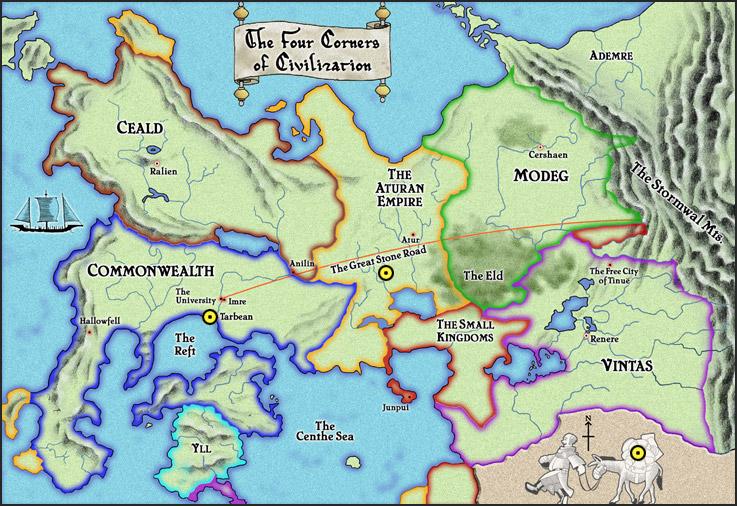 Mappa de Il nome del Vento - Lande Incantate
